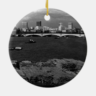 UK England river thames London skyline city 1970 Double-Sided Ceramic Round Christmas Ornament