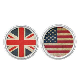 UK Flag and USA Flag Cuff Links
