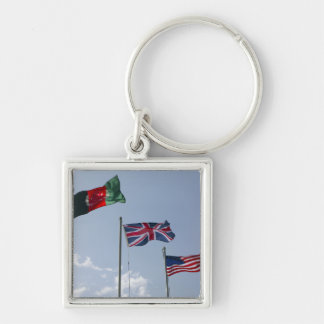 UK Flag between the Afghan and US flags Silver-Colored Square Keychain