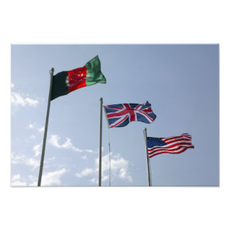 UK Flag between the Afghan and US flags Photo Print