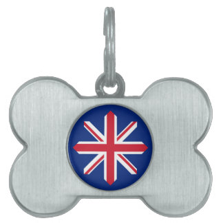 UK Flag Compass Rose Pet Name Tag