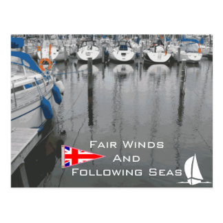 UK Flag Fair Winds Following Seas Nautical Phrase Postcard