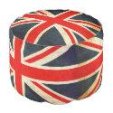 UK Flag Grunge Union Jack Round Pouf