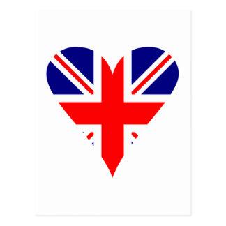 UK Flag Heart Funky Postcard