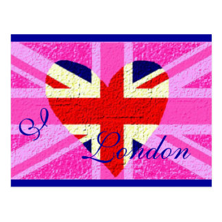 UK flag I Love London Postcard