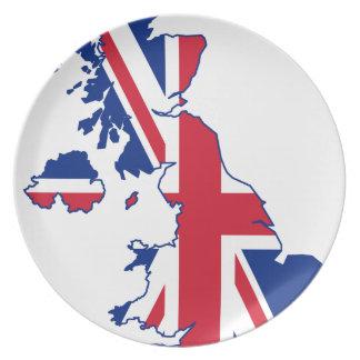 UK Flag Map Dinner Plate
