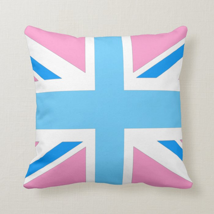 uk flag pink and blue pastel throw pillow Zazzle