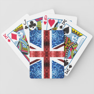 UK flag red and blue sparkles glitters Bicycle Playing Cards