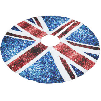 uk flag red and blue sparkles glitters brushed polyester tree skirt - Blue Christmas Tree Skirt