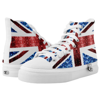 UK flag red and blue sparkles glitters High-Top Sneakers