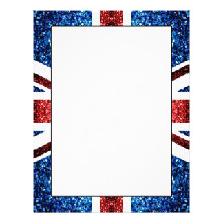 UK flag red and blue sparkles glitters Letterhead
