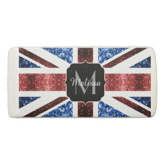 UK flag red and blue sparkles glitters Monogram Eraser