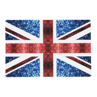 UK flag red and blue sparkles glitters Placemat