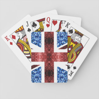 UK flag red and blue sparkles glitters Playing Cards