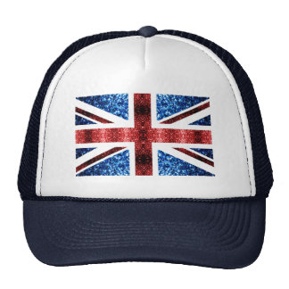 UK flag red and blue sparkles glitters Trucker Hat