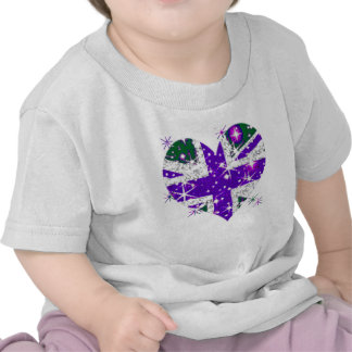 UK Flag sparkly heart kids T Shirts