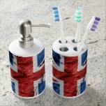 UK Flag Toothbrush Holder and Soap Dispenser Set