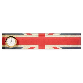 UK Flag Union Jack Desk Nameplate Clock