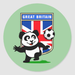 Round Sticker with Great Britain Football Panda design
