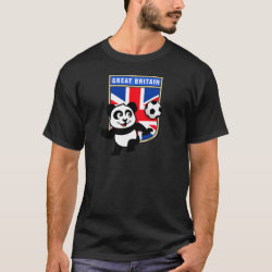 Men's Basic Dark T-Shirt with Great Britain Football Panda design
