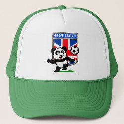 Trucker Hat with Great Britain Football Panda design