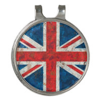 UK Great Britain Union Jack Distressed Flag Golf Hat Clip