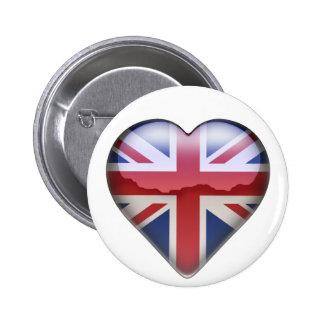 UK Heart 2 Inch Round Button