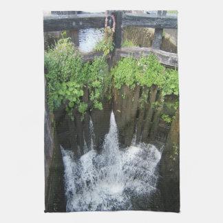 UK Inland Waterways Canal Lock with Overgrowth Kitchen Towel