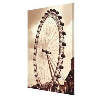 (UK) London Eye Vintage Wrapped Canvas Canvas Print