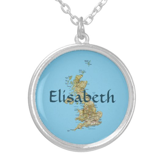 UK Map + Name Necklace