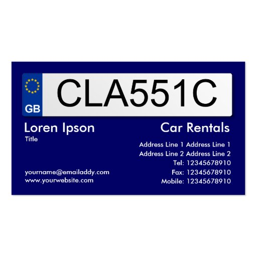 Uk number plate dark blue ii double sided standard for Uk business cards