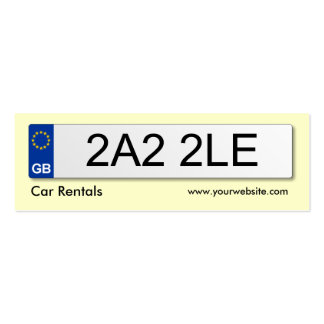 UK Number Plate - Pale Yellow Business Card Templates