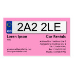 UK Number Plate - Pink Double-Sided Standard Business Cards (Pack Of 100)