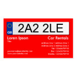 UK Number Plate - Red Double-Sided Standard Business Cards (Pack Of 100)