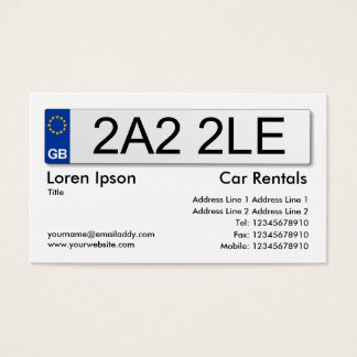 Uk Number Plate White Business Card