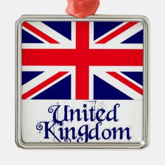UK SQUARE METAL CHRISTMAS ORNAMENT