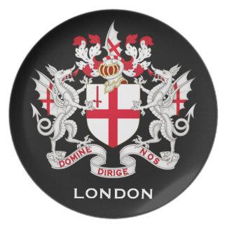 UK*, placa del escudo de armas de Londres Plato Para Fiesta
