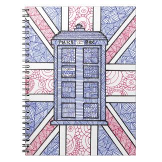 UK Police Box Union Jack Hand Illustrated Line Art Spiral Notebook