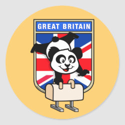 Round Sticker with British Pommel Horse Panda design