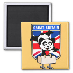Square Magnet with British Pommel Horse Panda design