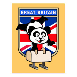 Postcard with British Pommel Horse Panda design