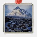 UK,Scotland,Highlands,Buchaille Etive Mor Square Metal Christmas Ornament
