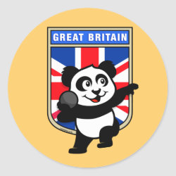 British Shot Put Panda Round Sticker