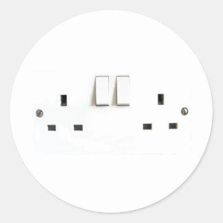UK Socket design Classic Round Sticker