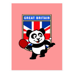 Postcard with British Table Tennis Panda design
