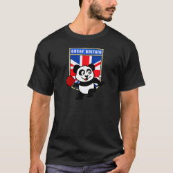 Men's Basic Dark T-Shirt with British Table Tennis Panda design