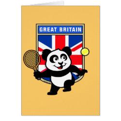 Greeting Card with Great Britain Tennis Panda design