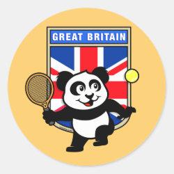 Round Sticker with Great Britain Tennis Panda design