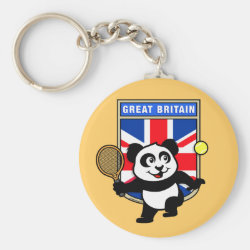 Basic Button Keychain with Great Britain Tennis Panda design