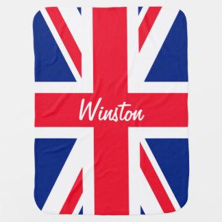 UK Union Jack British Flag Personalized Swaddle Blanket